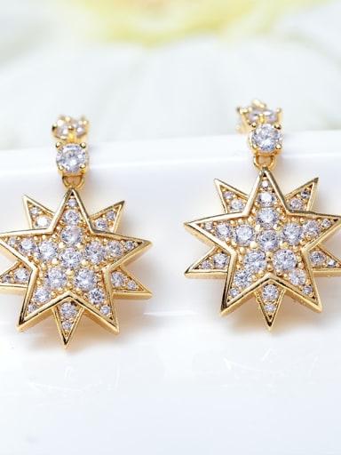 gold Copper Cubic Zirconia Star Dainty Drop Earring