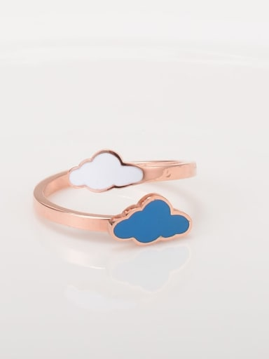 Titanium Enamel Multi Color  Clouds  Minimalist Midi Ring