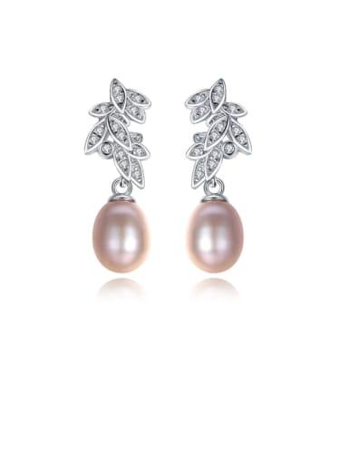 925 Sterling Silver Freshwater Pearl White Leaf Trend Drop Earring