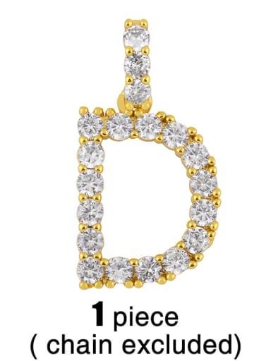 D (Without Chain) Copper Cubic Zirconia Dainty Letter  Pendant