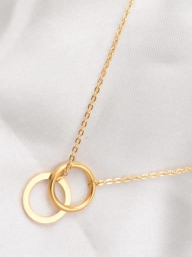 Golden Titanium  Simple Wild Double Round Pendant Necklace