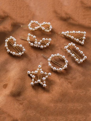 Zinc Alloy Imitation Pearl White Triangle Minimalist Hair Pins