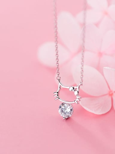 925 Sterling Silver Cubic Zirconia Fashion Cute Hollow Cat Necklace