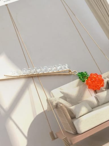 Little orange Alloy Crystal word strawberry pendant side clip