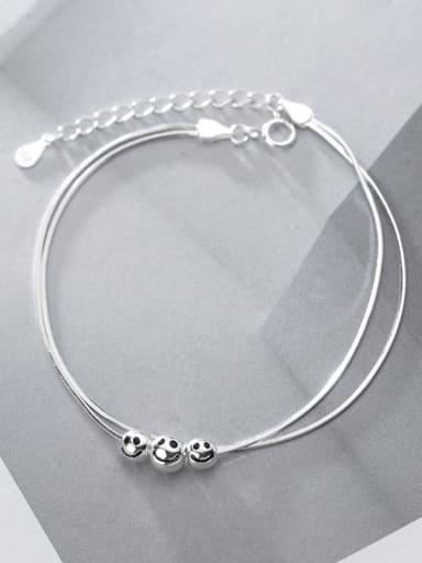 925 Sterling Silver Bead Round Minimalist Link Bracelet