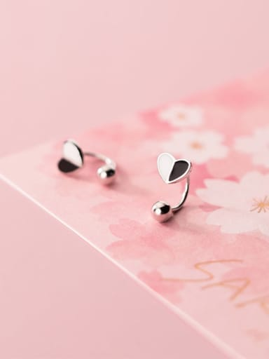 925 Sterling Silver Smooth Heart Minimalist Clip Earring