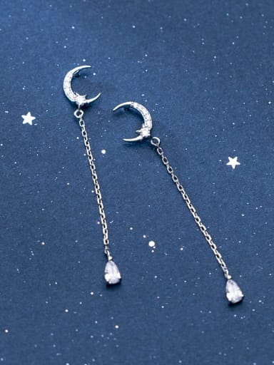 925 Sterling Silver Cubic Zirconia Tassel Minimalist Threader Earring