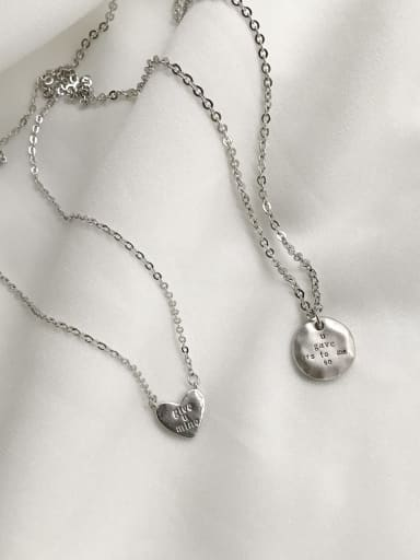 925 Sterling Silver Heart-round Trend Initials Necklace