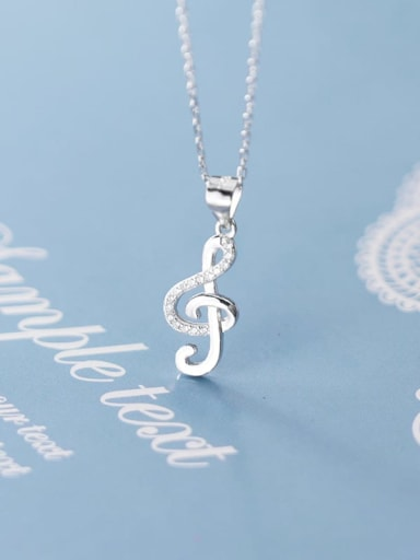 925 Sterling Silver Simple fashion notes diamond pendant Necklace