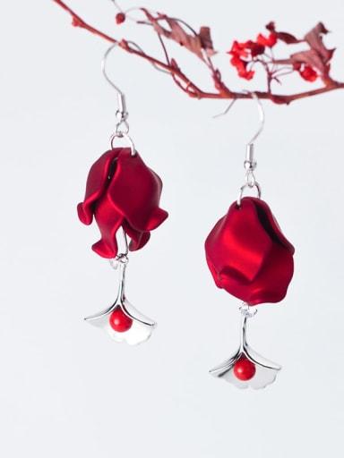 925 Sterling Silver Red Enamel Flower Trend Hook Earring