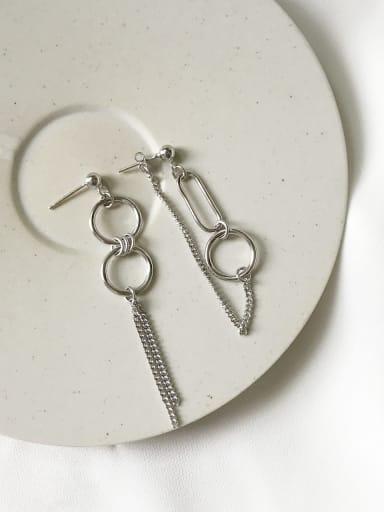 925 Sterling Silver retro geometric asymmetry Earring
