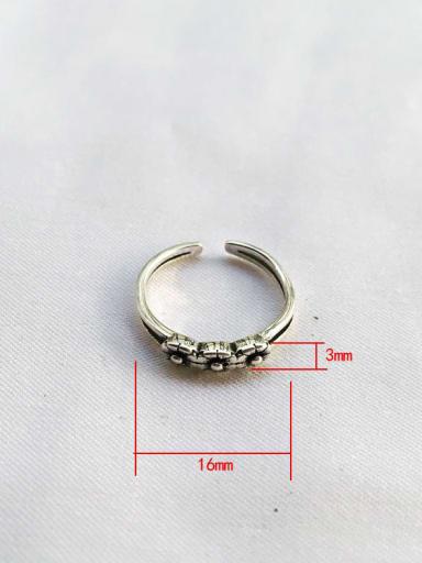 J31 925 Sterling Silver Geometric flower Vintage Stackable Ring