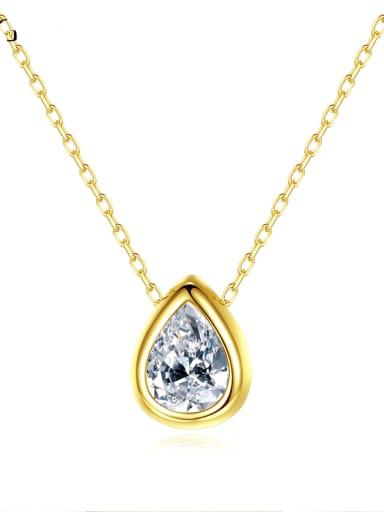 925 Sterling Silver Cubic Zirconia Water Drop Minimalist Necklace