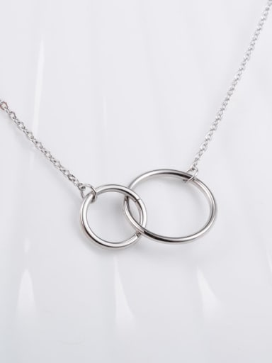 silvery Titanium  Hollow Round Necklace