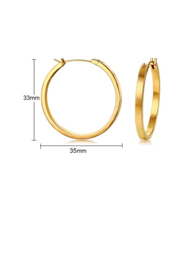 gold:35MM Titanium Hollow  Round Minimalist Hoop Earring