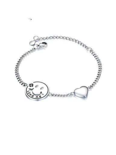 Titanium Heart Minimalist Link Bracelet