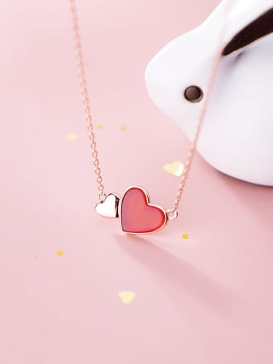 925 Sterling Silver Resin Red Heart Minimalist Necklace