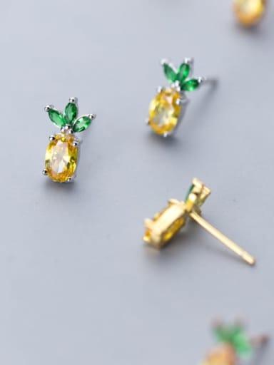 925 Sterling Silver Cubic Zirconia Multi Color Friut Cute Stud Earring