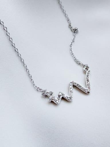 925 Sterling Silver Rhinestone Wave Diamond Necklace