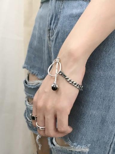 925 Sterling Silver Carnelian Black Irregular Trend Link Bracelet