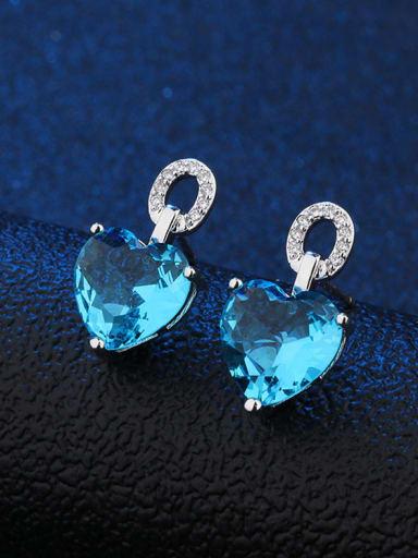 Copper sky blue Copper Glass Stone Heart Dainty Stud Earring