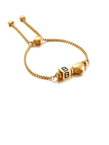 B Titanium Black Enamel  26 Letter Minimalist Adjustable Bracelet