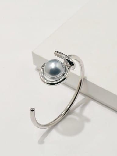 Silver Grey Pearl Copper Imitation Pearl White Irregular Minimalist Adjustable Bracelet