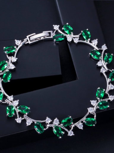 green Copper Cubic Zirconia Leaf Luxury Bracelet