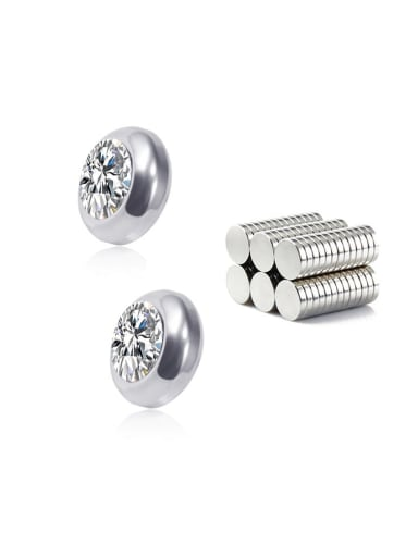 white 8mm Titanium Rhinestone Multi Color Round Minimalist  Single Rhinestone  Magnet Stud Earring