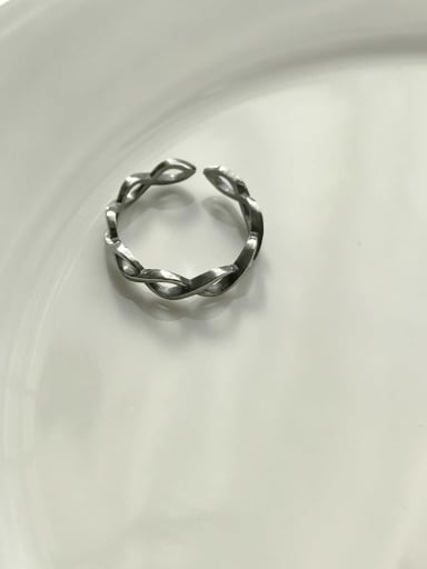J 597 wave ring 925 Sterling Silver Geometric Vintage  Free Size Midi Ring