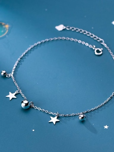 925 Sterling Silver Minimalist  Bead Star Anklet