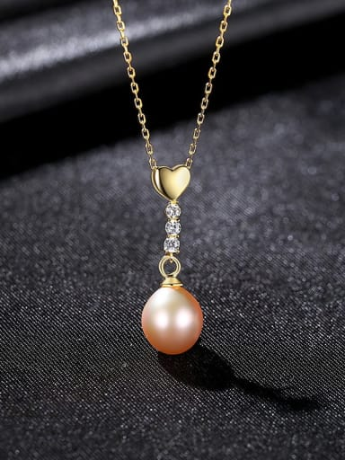 Pink 8A11 925 Sterling Silver Imitation Pearl Heart Minimalist Necklace