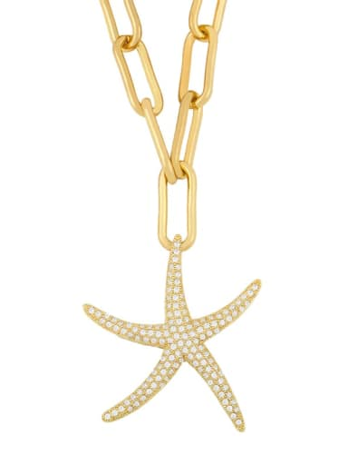 Starfish Titanium Cubic Zirconia Heart Minimalist Necklace