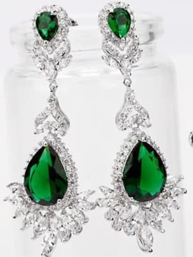 Emerald t02e03 Copper Cubic Zirconia Geometric Luxury Drop Earring