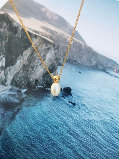 Copper Imitation Pearl White  Water drop  Necklace