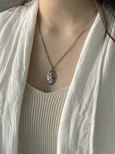 925 Sterling Silver Starfish Retro starfish sweater chain Necklace