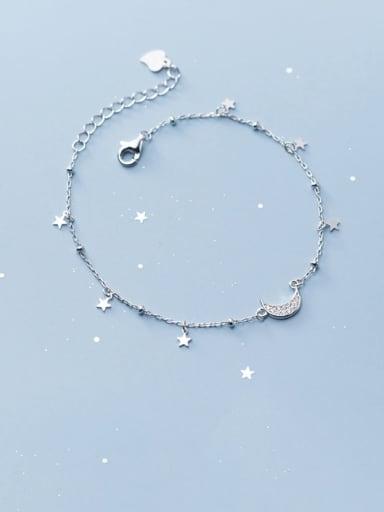 925 Sterling Silver  Minimalist  Star Moon Link Bracelet