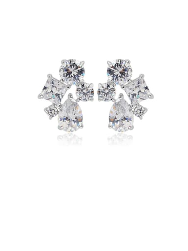 Copper Cubic Zirconia Geometric Luxury Stud Earring