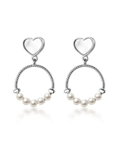 925 Sterling Silver Imitation Pearl  Hollow Geometric Minimalist Drop Earring