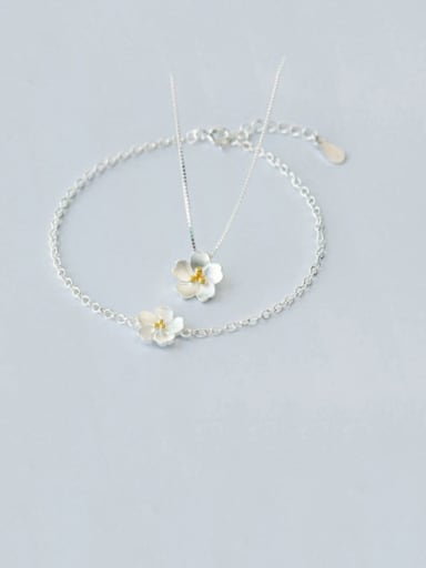 925 Sterling Silver Flower Minimalist Necklace