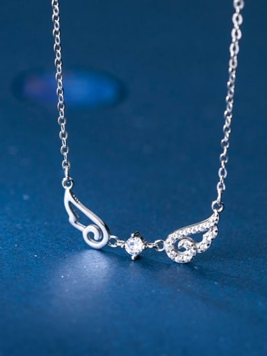 925 Sterling Silver Minimalist Cubic Zirconia Hollow Wing  Pendant Necklace