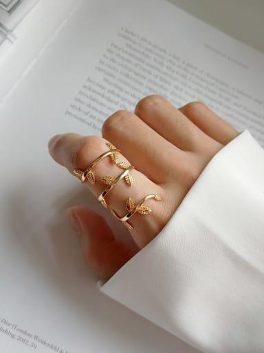 925 Sterling Silver Leaf Statement Ring