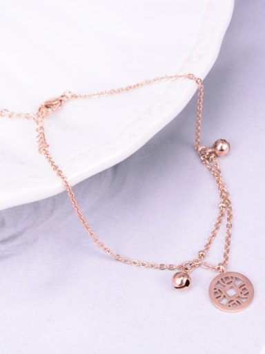 Titanium Hollow Round Coins Bell   Anklet