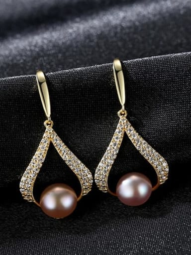 18K Gold Purple Pearl 3e12 925 Sterling Silver Freshwater Pearl White Geometric Trend Drop Earring