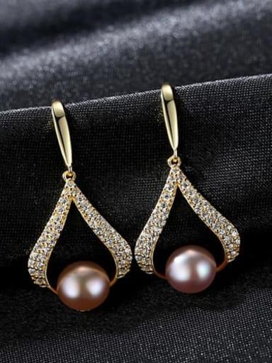 925 Sterling Silver Freshwater Pearl White Geometric Trend Drop Earring