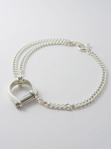 925 Sterling Silver Letter D Trend Link Bracelet