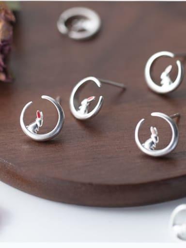 925 Sterling Silver Enamel Moon  rabbit Minimalist Stud Earring