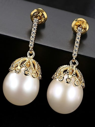White 3A03 925 Sterling Silver Water Drop  Freshwater Pearl Trend  Lace design Drop Earring