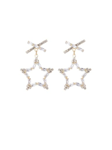 Alloy With Imitation Gold Plated Fashion Hollow Star Drop Earrings