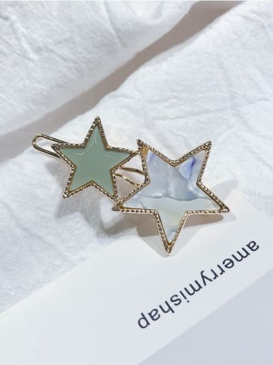 Flower green Alloy Cellulose Acetate Minimalist Star  Hair Pin
